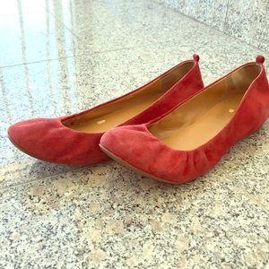 Red Suede J. Crew Ballet Flats